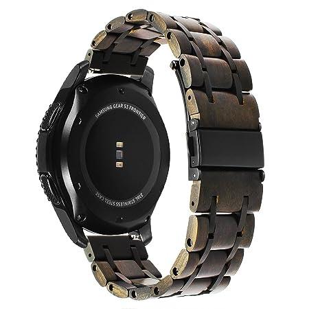 ... Bande de Montre en Bois, 22mm Bracelet de Montre en Acier Inoxydable et Bois Naturel pour Samsung Gear S3 Classic/Frontier,Moto 360 2 46mm,ASUS ZenWatch ...