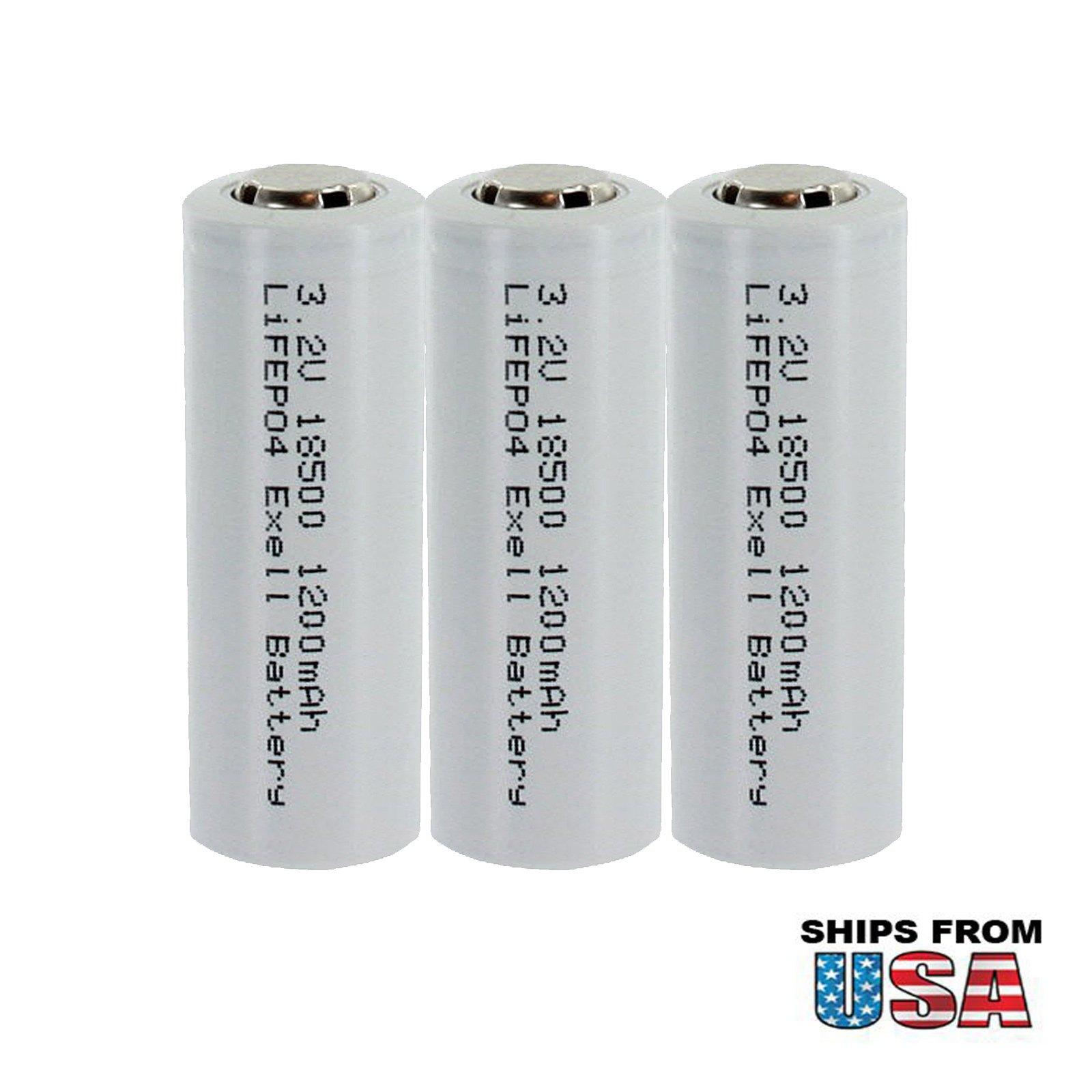 3x Exell LiFePO4 Size 18500 Rechargeable Solar Battery 3.2V 1200mAh USA SHIP