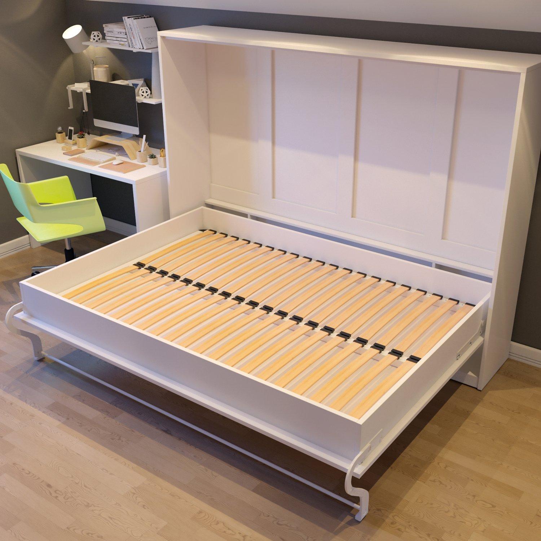 Smartbett schrankbett foldaway bed 140 x200 horizontal querbett ...