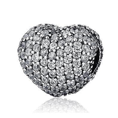 007c1522875f Lily Jewelry Pavé de abrir mi corazón con clara CZ Clip 925 plata esterlina  grano cabe Pandora pulsera  Amazon.es  Joyería