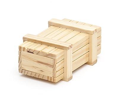 Caja regalo mágica de madera clara – Caja con mecanismo secreto – Rompecabezas - Juego de