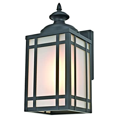 Addington Park 31745 Yorkshire Collection 1-Light Mission-Style Outdoor Wall Sconce with Frosted Glass, Black: Home Improvement