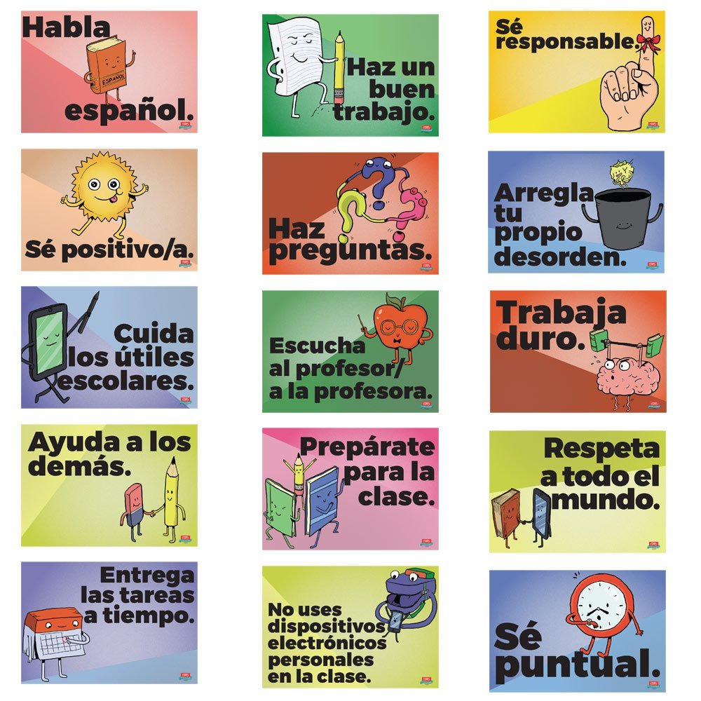 Common Sense Rules Spanish Mini-Poster Set by Teacher's Discovery (Image #1)