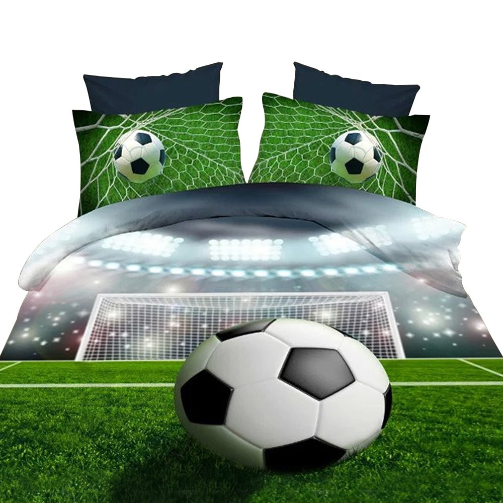 Alicemall 3D Boys Bedding Sets Full Soccer Ball/ Football 100% Polyester Kids Duvet Cover Flat Sheet Pillow Cases Bed Sets, No Comforter (Full)