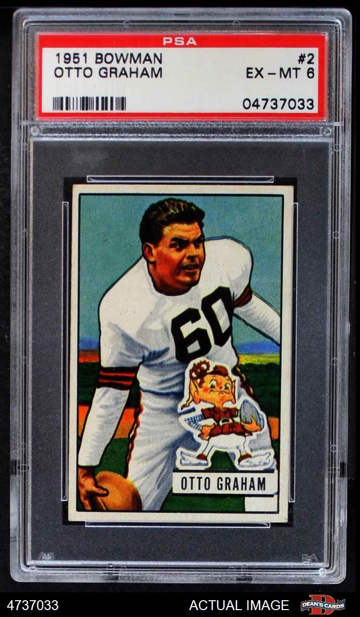 1951 Bowman # 2 Otto Graham Cleveland Browns-Fb (Football Card) Psa 6 - Ex/Mt Browns-Fb Northwestern