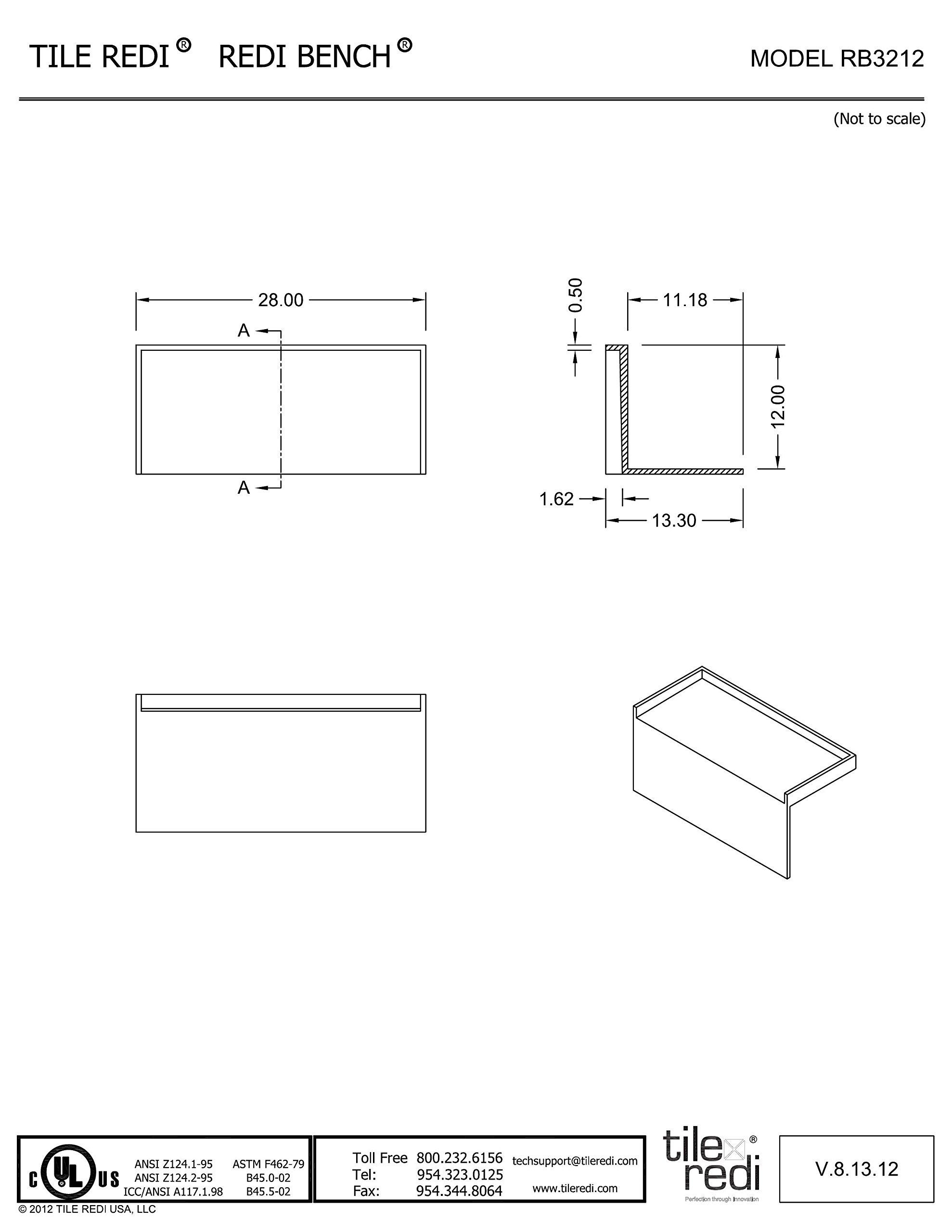 Tile Redi USA RB3212-KIT Shower Bench, Rectangular, Gray