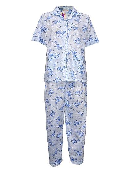 Las Mujeres Pijama Flores Noche Desgaste señoras camisón Semitransparente algodón Revere Cuello de Manga Corta (195) Azul M: Amazon.es: Ropa y accesorios
