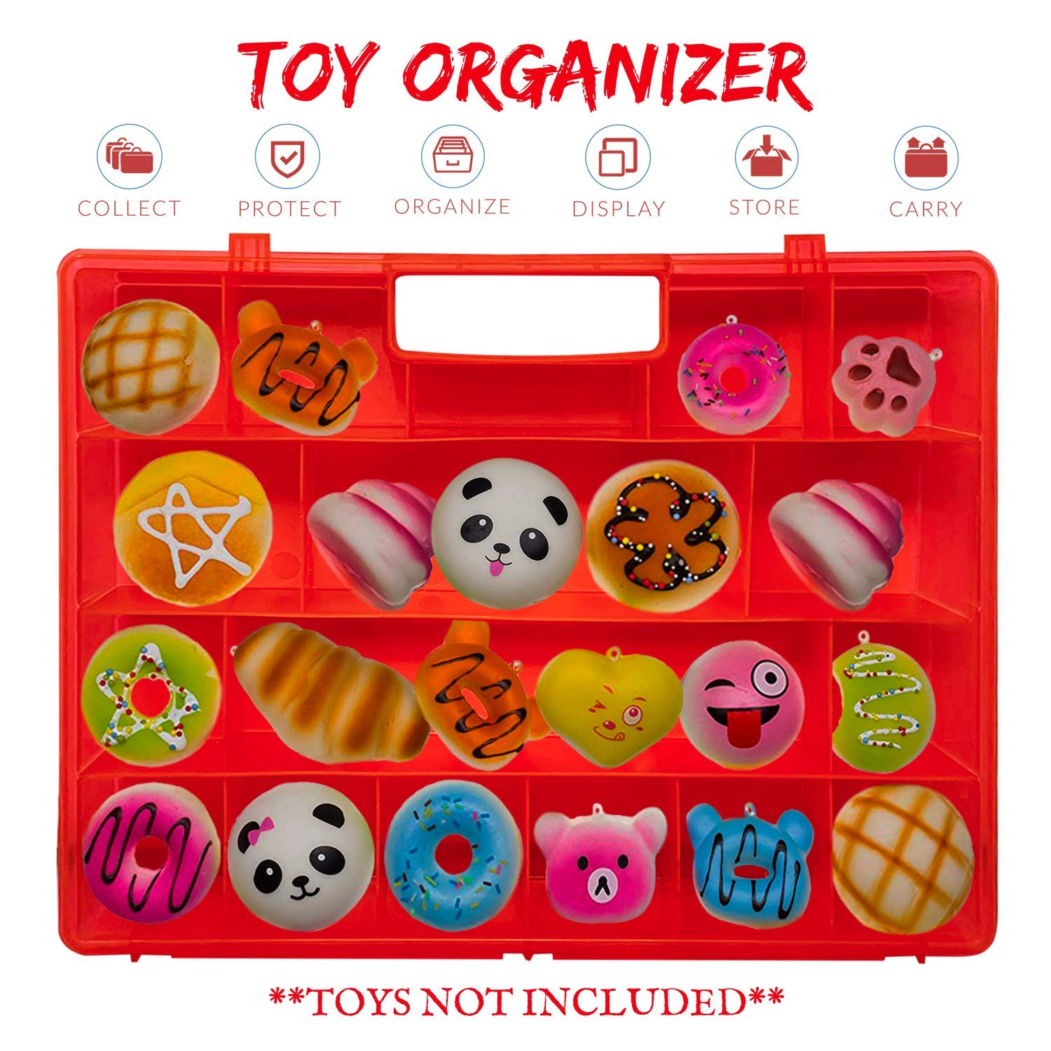 Newly Designed Kid-Friendly Compatible with Squishies Life Made Better Tougher /& Longer-Lasting Red Toy Storage Box Stronger All-in-One Handle Made