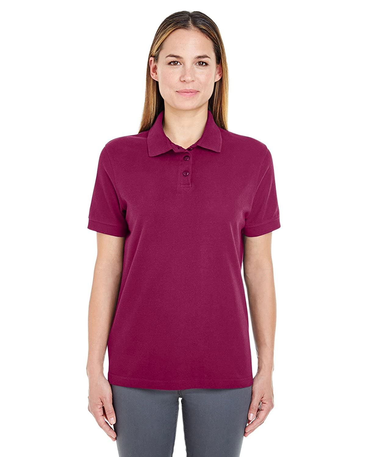 UltraClub 8541 Ladies Whisper Pique Polo Apple
