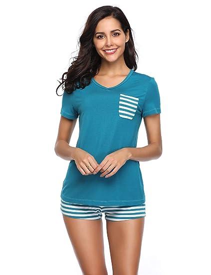 Lusofie Pyjama für Damen Langarm&Kurzarm Schlafanzug mit Knopfleiste Nachtwäsche PJ Set