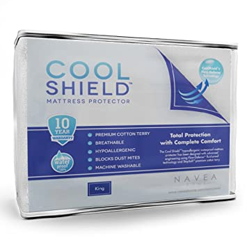 Cool Shield - Protector de colchón impermeable sin alergias – Funda de tejido de rizo transpirable