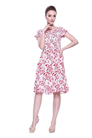 LLJ Hawaiis Womens Hawaiian Elastic Top Short Sleeve Dress in White with Red Floral