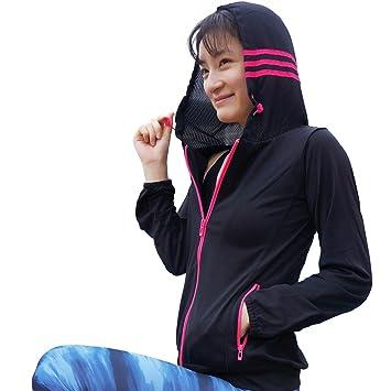mujeres cremallera con capucha Gym abrigo chaqueta fina Outdoor Sports unidad ligero Anti de olor,