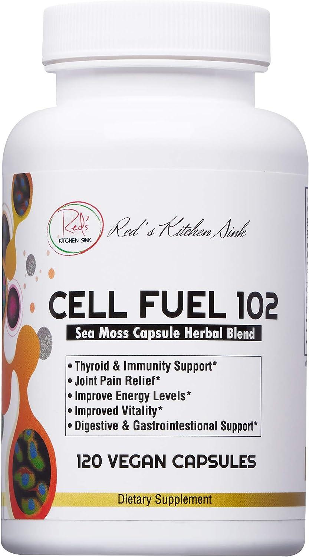 Cell Fuel 102 Sea Moss Capsules [120 ct.]: Organic Irish Moss, Organic Bladderwrack & Organic Burdock Root, Dr Sebi Inspired, 100% Natural, Vegan