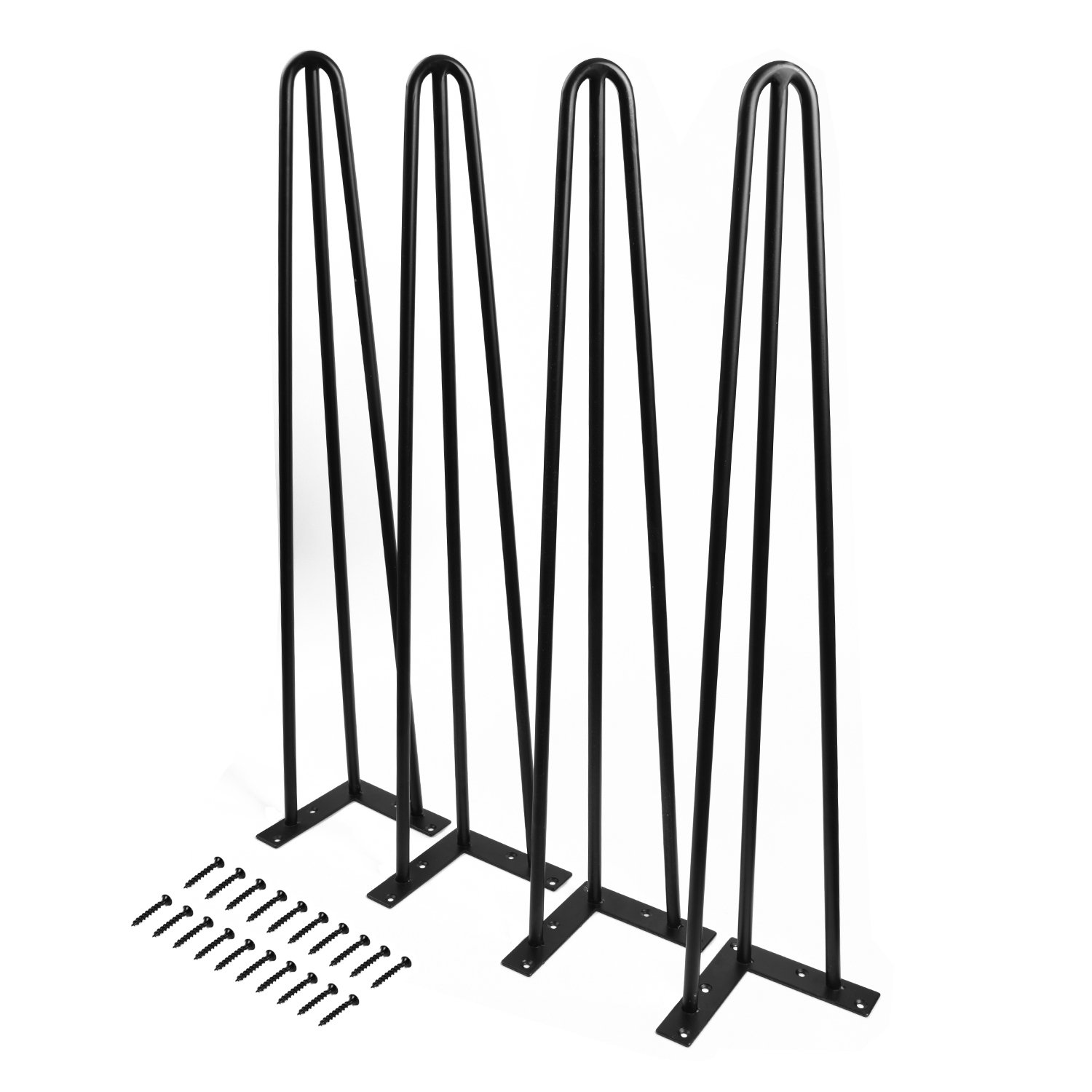 SMARTSTANDARD 28'' Heavy Duty Hairpin Coffee Table Legs (Set of 4), Metal Home DIY Projects for Furniture, with Bonus Rubber Floor Protectors, Black by SMARTSTANDARD