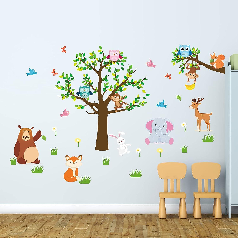 9 Pcs Animal Tree Wall Stickers Monkey Raccoon Elephant Deer Kids Wall Decals Baby Nursery Kids Room Wall Decor