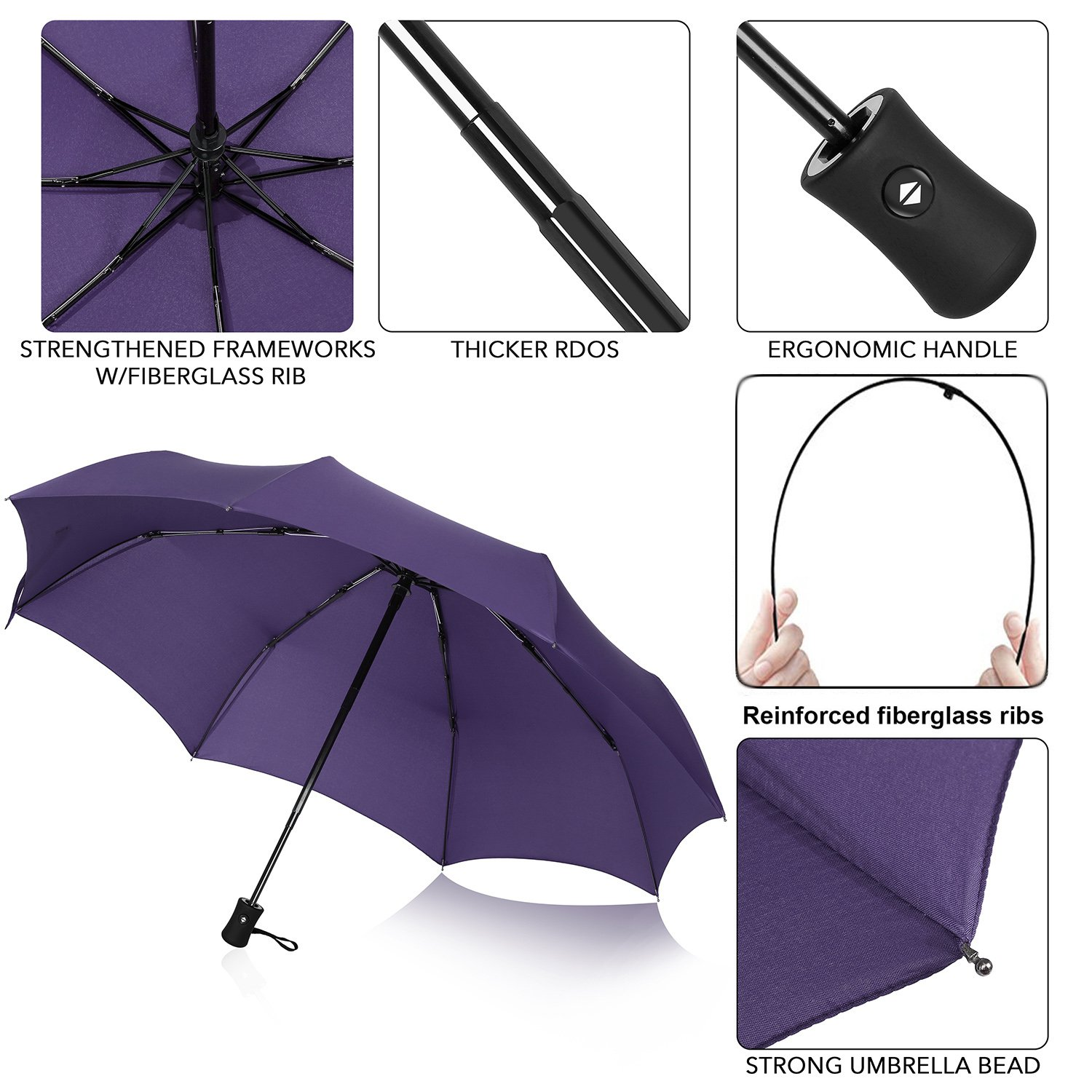 QHUMO Compact Travel Umbrella Windproof, Auto Open Close Umbrellas for Women Men by QHUMO (Image #4)