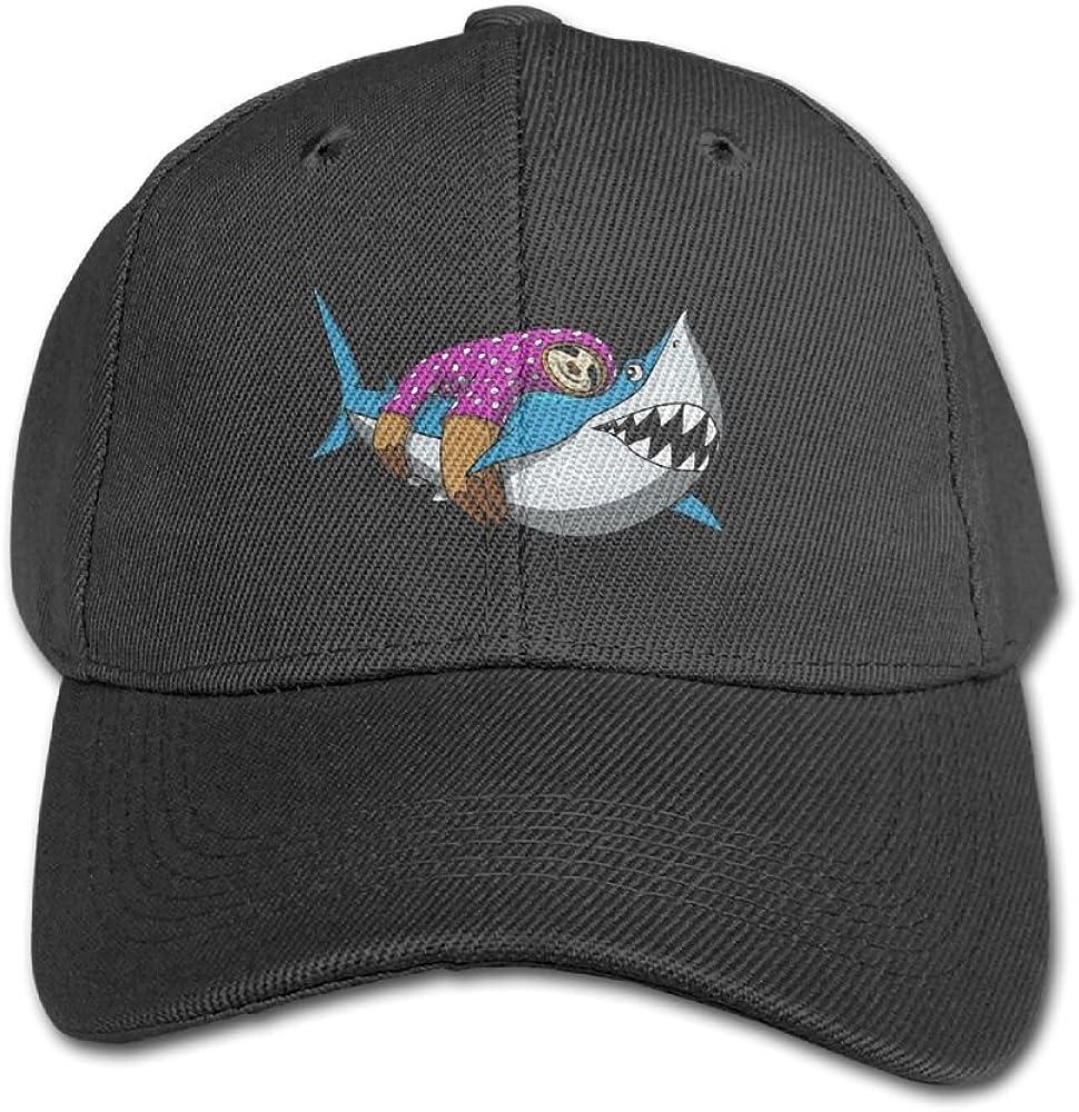 Haibaba Lazy Sloth Riding Shark Boys and Girls Black Baseball Caps Solid Hats