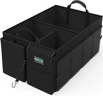 Drive Auto Products Auto Organizer Kofferraum Organizer Kofferraumtasche Mit Spanngurten Praktische Auto Faltbox Robuste Tasche Mit Vielen Fächern Schwarz Auto