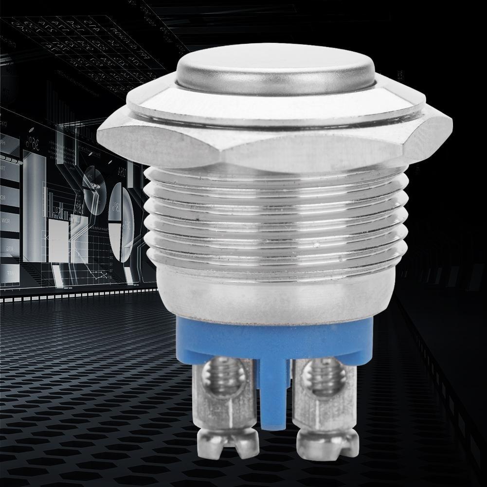 Juego de 5/piezas//16/mm 250/V bot/ón interruptor resistente al agua 2pin mini interruptor de presi/ón autorretenci/ón metal