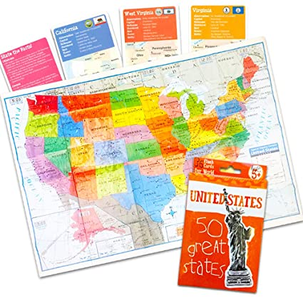 State Map Of North America.Amazon Com Us Map Set Usa Map Poster States And Capitals Flash