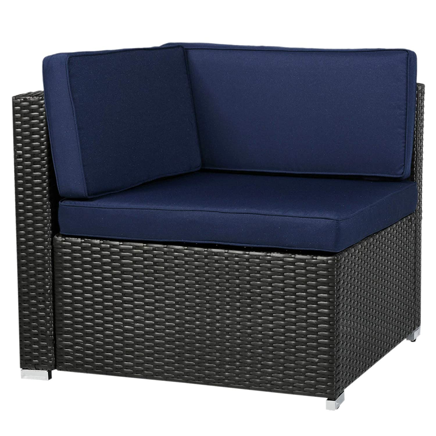 Amazon com outsunny 7 piece wicker rattan sofa sectional outdoor patio furniture set blue kitchen dining