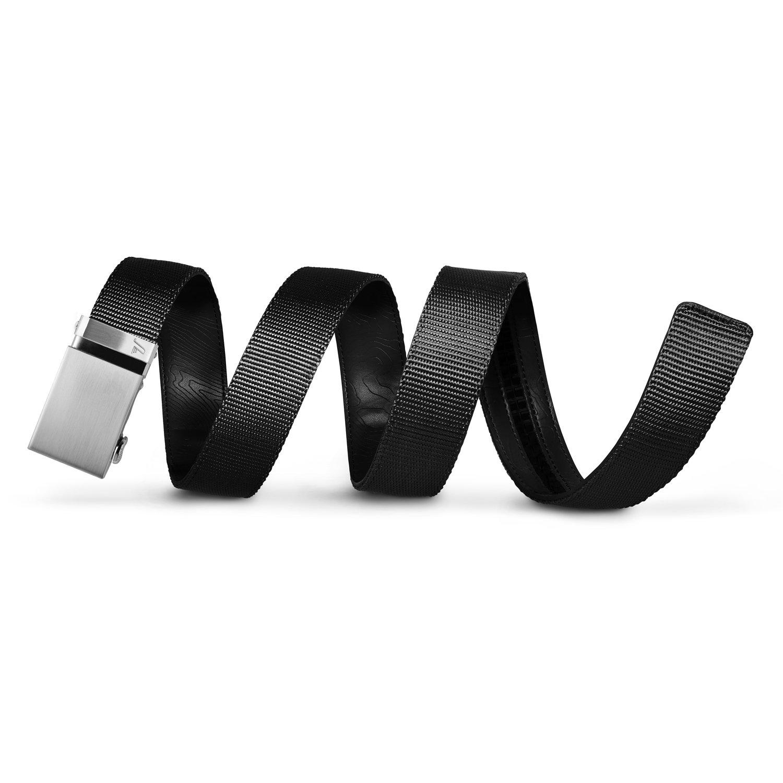 Mission Belt Men's Ratchet Belt - 40mm Steel Buckle/Black Nylon Strap, Extra Large (Up to 42'')