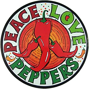 Car Magnet Peace Love Peppers Magnetic Decal for Locker or Fridge, 5 3/4 Inch
