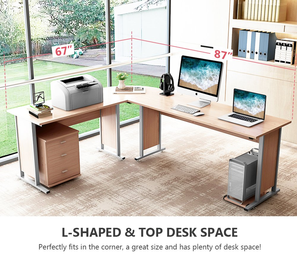 "87"" Tribesigns Modern L-Shaped Desk with Return and Mobile File Cabinet, Corner Computer Desk Study Table Reversible Super Sturdy Workstation for Home Office Wood & Metal with Drawers, Salt Oak - 【TOP DESK SPACE】- 87""L (long side) x 67""(short side) x 30""H, the depth is of 24""(both long and short sides), great size with open design l-shapes desk, provides a corner wedge that saves a lot of space while create the ideal workspace. 【TIDY and NO TANGLED】- Desk portion provides 3 smooth metal rails drawers for your perfect office arrangement, desktop decluttered with conveniently built-in grommet hole that keeps your cords out of the way and organized. And a bonus CPU holder is also contained. 【SUPERIOR QUALITY】- SGS certified E1 class compressed board and perfect edge technology with no collapse around provides perfect quality assurance. Solid metal tubing features a powder-coated finish that prevents it from corroding. - writing-desks, living-room-furniture, living-room - 71tCjLs9D4L -"