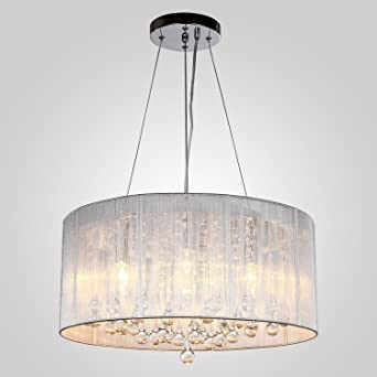 Louvra Modern Crystal Chandelier Ceiling Light With 4 Lamps Drawing Wire Cover Fabric Shade Home