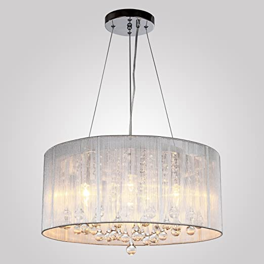 Lightess crystal chandelier modern flush pendant ceiling lights with lightess crystal chandelier modern flush pendant ceiling lights with 4 lamps fabric wire shade drum k9 aloadofball Image collections
