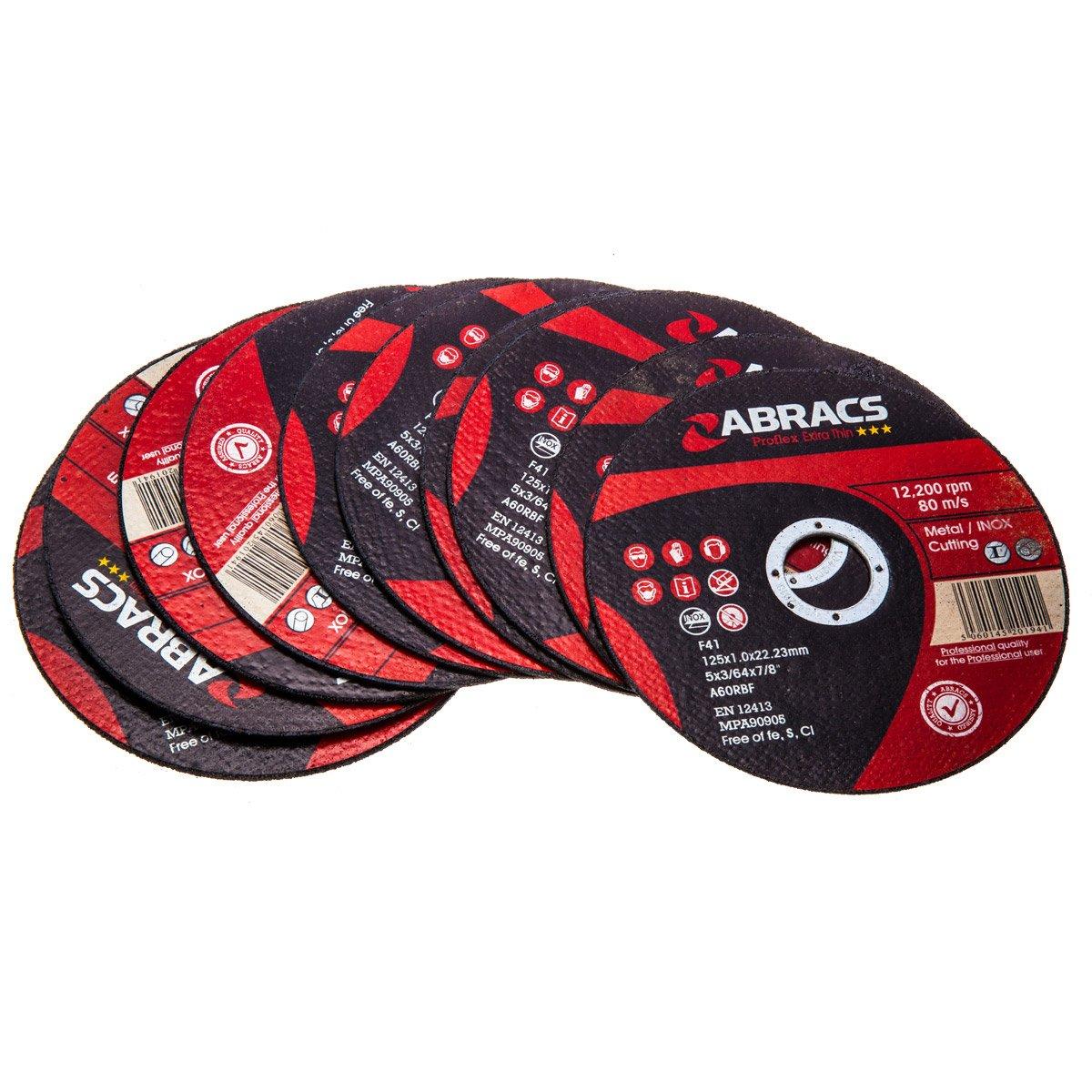 Abracs PFET12510FI 125 x 1.0 x 22 mm Extra Thin INOX Cutting Disc - Red (Pack of 10)