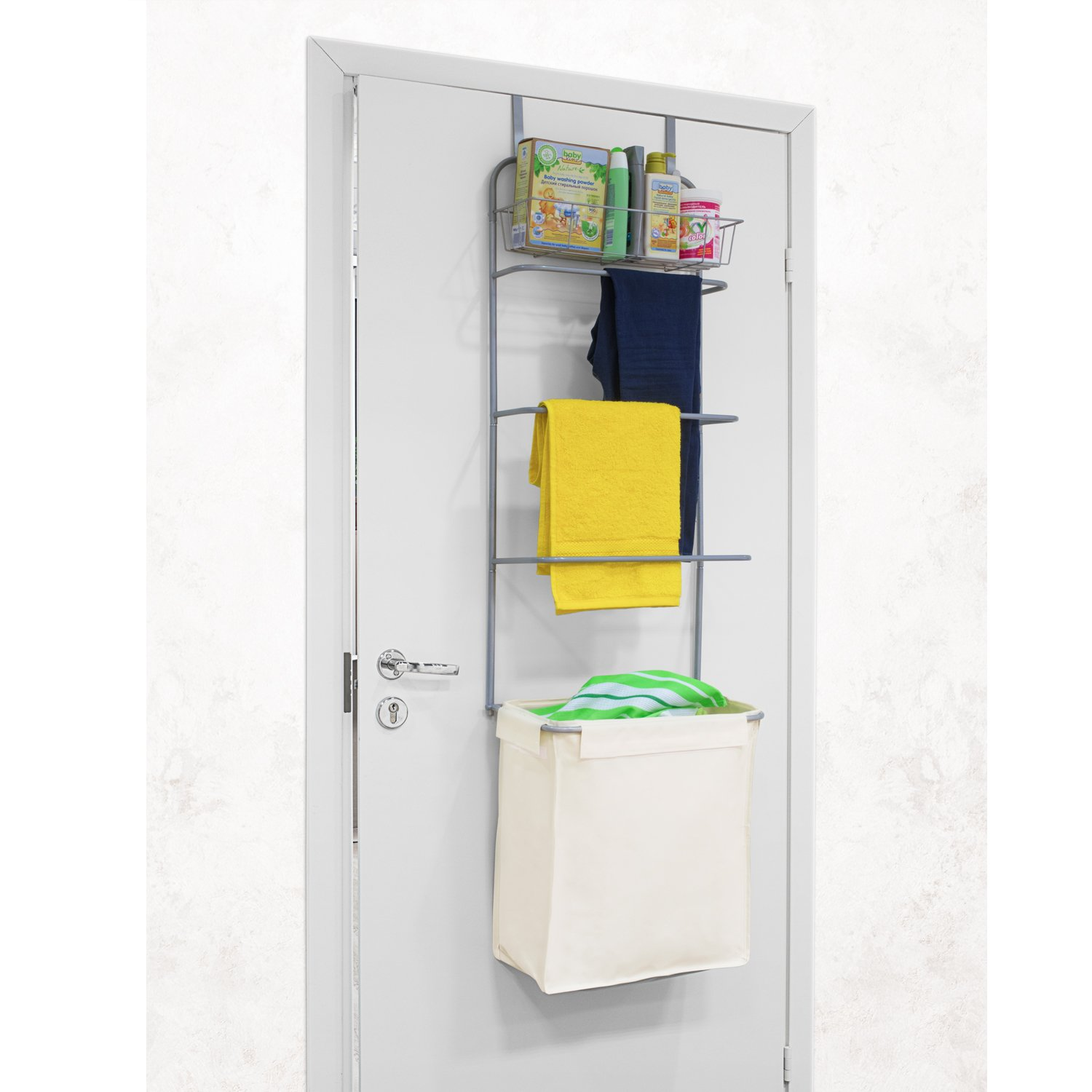 Tatkraft Solver Over Door Laundry Rack Space Saver with Shelf, Laundry Hamper and 3 Towel Rails 16.5 X 58.7 X 11.2