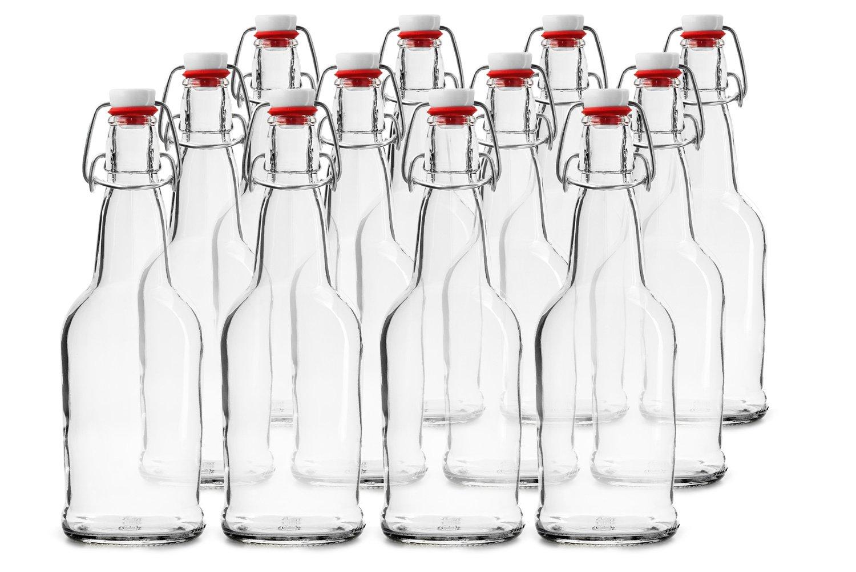 Chefs Star Lot de de 12bouteilles de bière avec bouchons faciles à retirer–Capacité de 470ml - Transparentes - Chef's Star NA