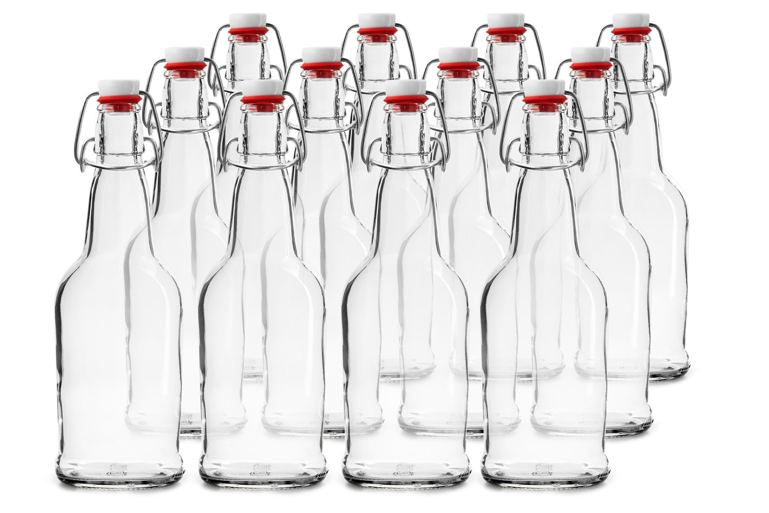 Home Brewing Glass Beer Bottle with Easy Wire Swing Cap & Airtight Rubber Seal | Clear | 16oz | Case of 12 | by Chef's Star by Chef's Star