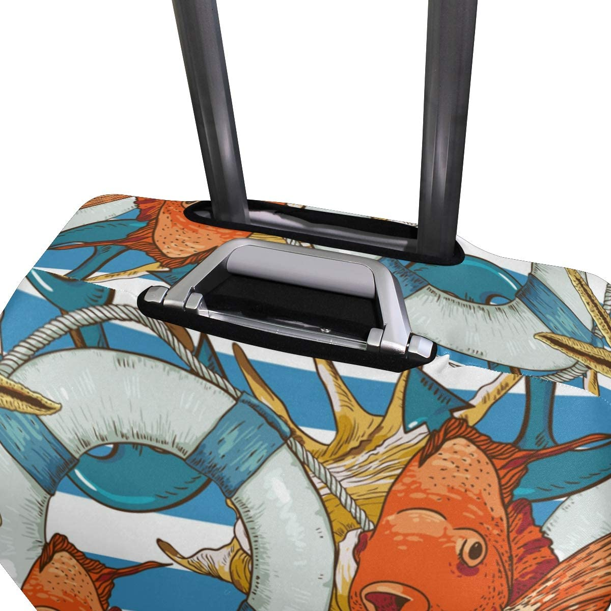 FOLPPLY Stripes Fish With Nautical Anchor Luggage Cover Baggage Suitcase Travel Protector Fit for 18-32 Inch