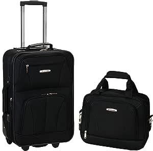 Rockland 2 Pc Luggage Set, Black (Black) - F145-ORANGE