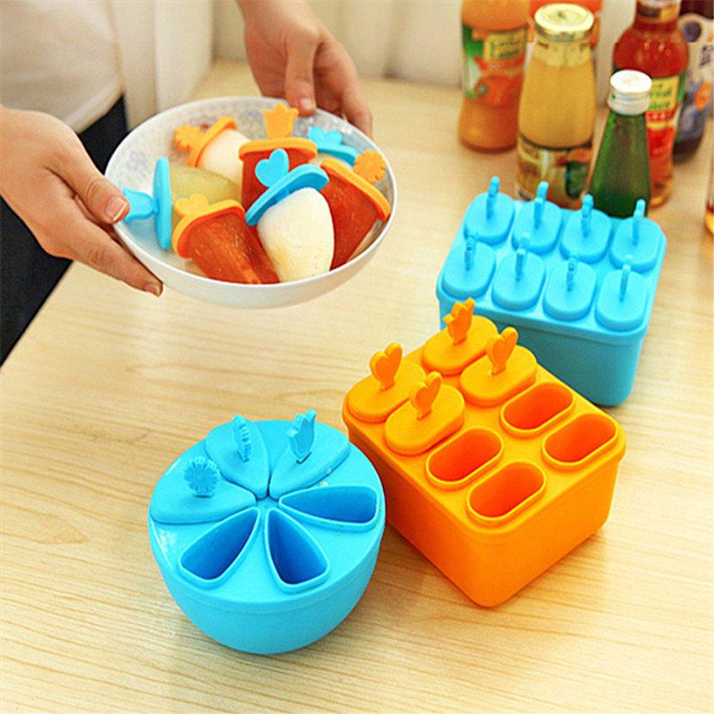 dise/ño de helado Wicemoon Amarillo Molde de silicona para helado con tapa de cuenco y 8 celdas silicona 12*6cm