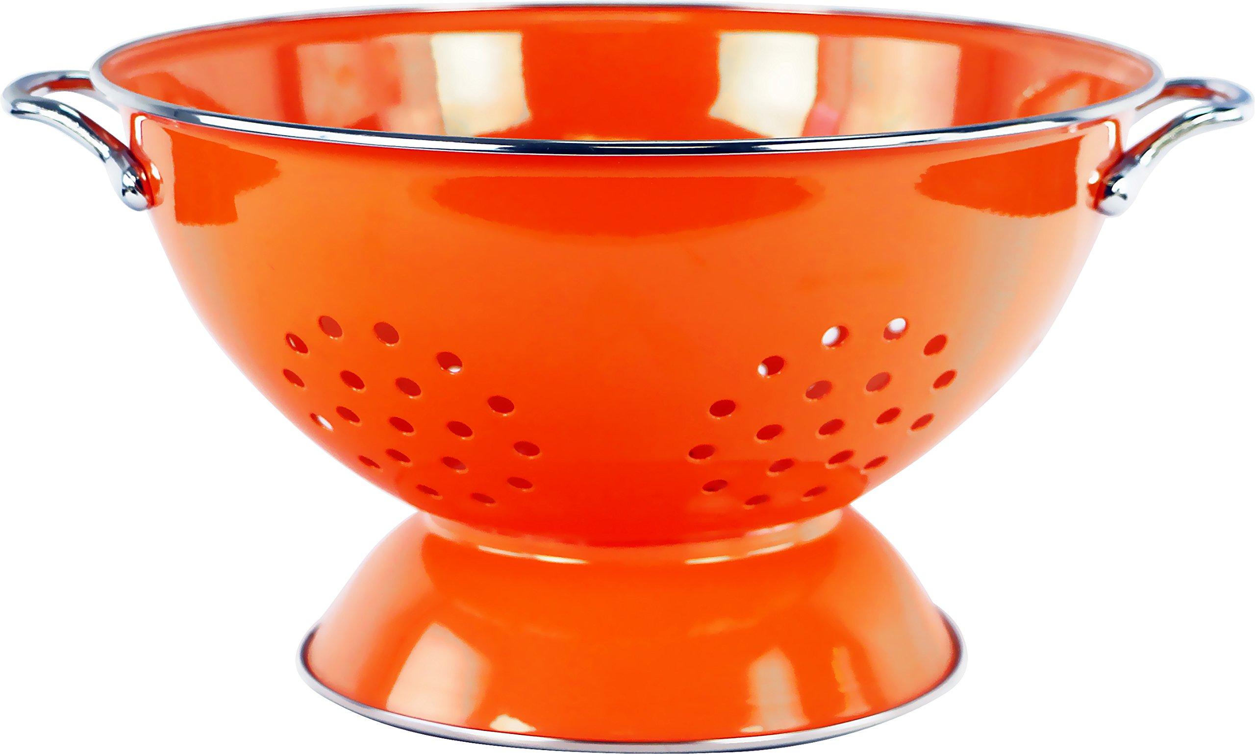 Calypso Basics by Reston Lloyd Powder Coated Enameled Colander, 5 Quart, Orange