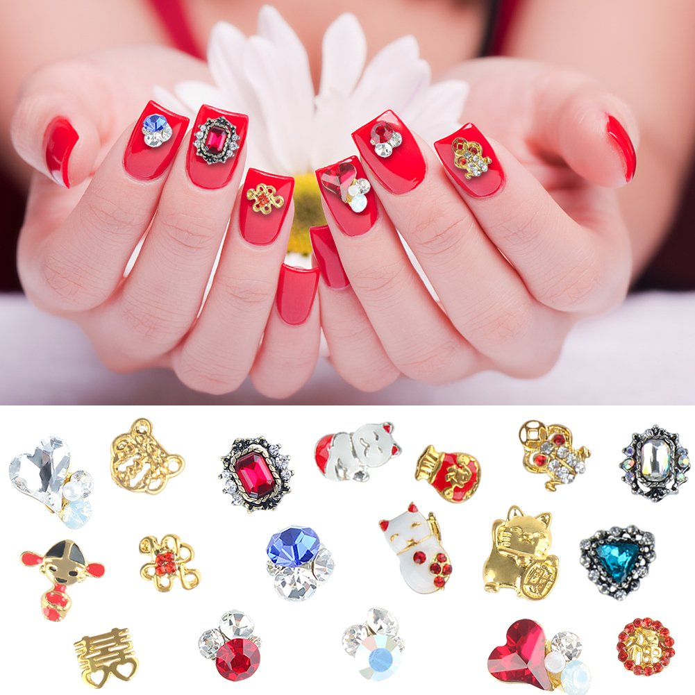 CINEEN 3D Be Mixed Nail Art Tips Glitters Rhinestones Decoration gems Chinese Style Golden Nail Ornamen tNail Art Decoration DIY