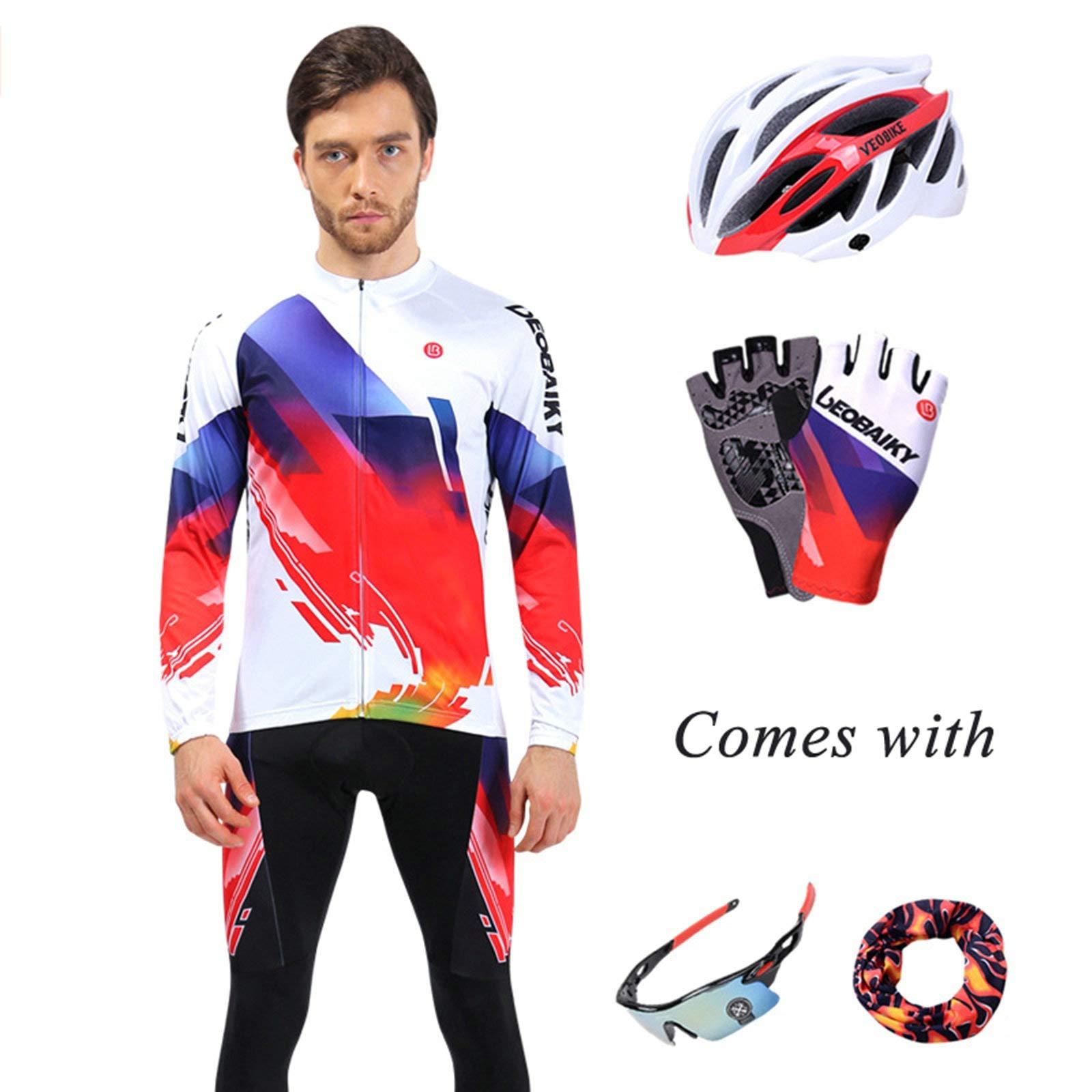 Aooaz Men's Biking Clothing Set Shirt Leggings with Helmet/Gloves/Goggles/Mask White S