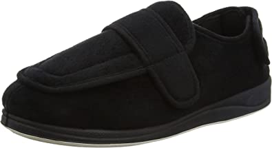 MENS PADDERS /'WRAP/'  WIDE STRAP SLIPPERS BLACK AND NAVY BLUE G Fitting