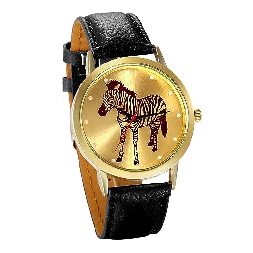 JewelryWe Reloj de Moda para Mujer Chica, Dibujo de Cebra Reloj Dorado Correa de Cuero Negro para El Verano 2017, Buen Regalo San Valentín/Navidad: ...
