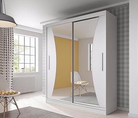 BELLA 2 Armario moderno para dormitorio, con puerta corredera de cristal, 183 cm, frontal y laterales en color blanco: Amazon.es: Hogar