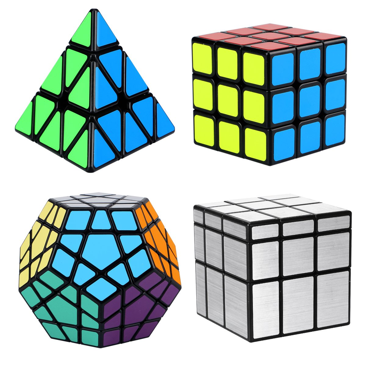 Magic Cube Set, Aitey Cube Bundle 3x3 Cube, Pyramid Cube, Megaminx and Mirror Cube Speed Puzzle Collection (4 Pack)