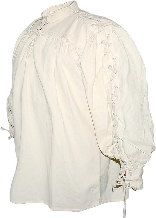 Natur SAY Mittelalter Baumwollhemd mit Schnürung an Kragen und Ärmeln//Farbe