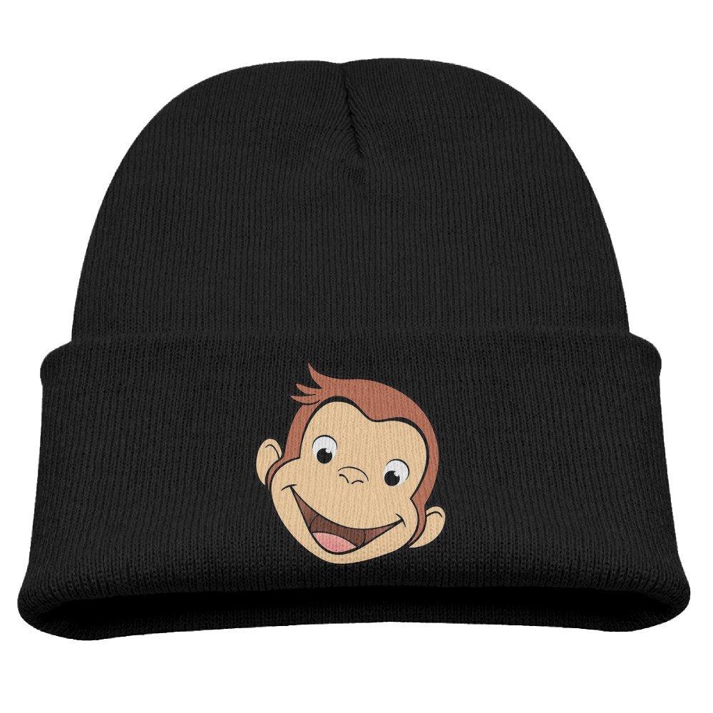 Cartoon Curious George Warm Winter Hat Knit Beanie Skull Cap Cuff Beanie Hat Winter Hats Boys Larenoto B01MZWRKBF