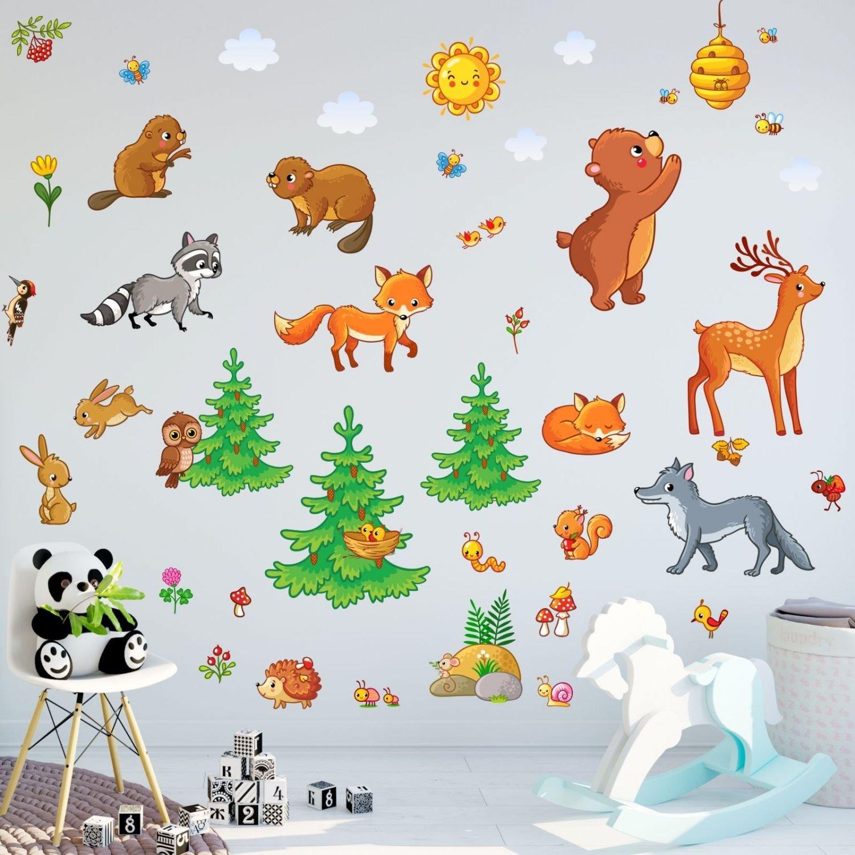 081 Wandtattoo Waldtiere Bär Fuchs Eule Hirsch - in 6 6 6 Größen - niedliche Kinderzimmer Sticker und Aufkleber süße Wanddeko Wandbild Junge Mädchen - Größe 1500 x 840 mm a3a6bd