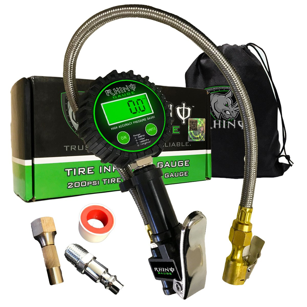 Rhino USA Heavy Duty Tire Inflator Gauge (0-200 PSI) - Certified ANSI B40.1 Accurate, Large 2'' Easy Read Glow Dial, Premium Braided Hose, Solid Brass Hardware, Best For Any Car, Truck, Motorcycle, RV