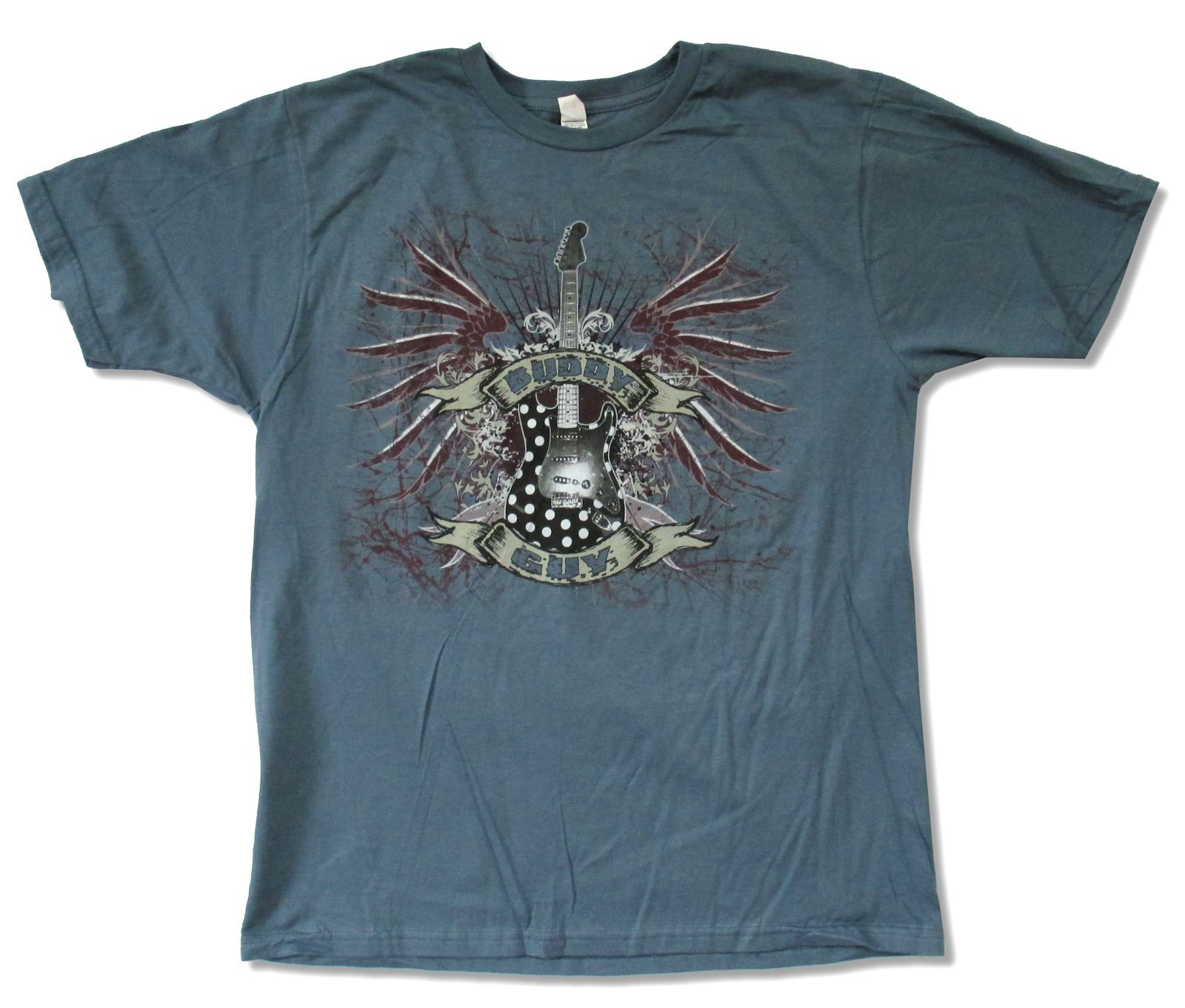 Adult Buddy Guy ''Gothic Guitar Slate Blue Tour 2012 (SD-Coconut Creek)'' T-Shirt (Large)